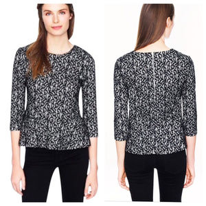J Crew Black Lace Peplum Exposed Zipper Top XS/S
